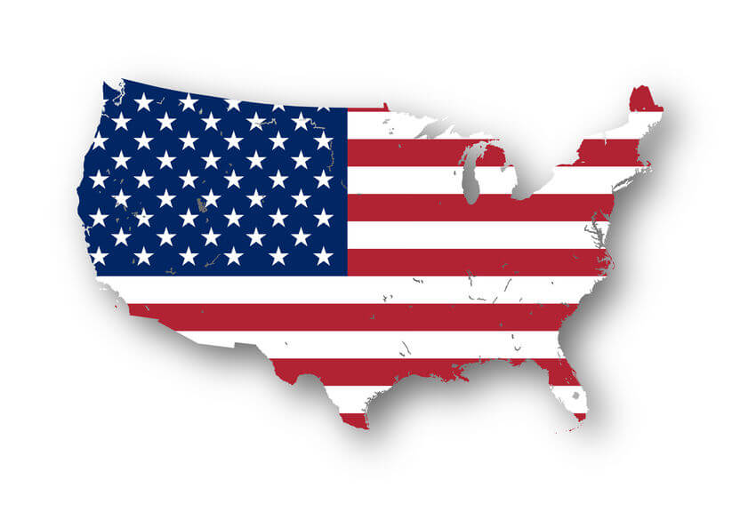 map of the USA with american flag