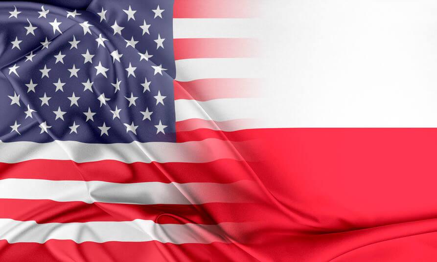 Flaga USA i Polski